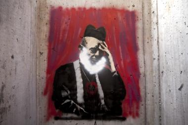 Banksy's latest piece had already been defaced by October 13, 2013.