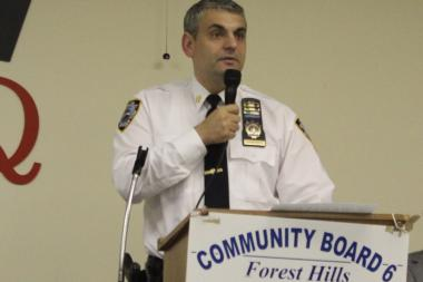 Capt. Thomas Conforti speaks at a Community Board 6 meeting on Wednesday night.