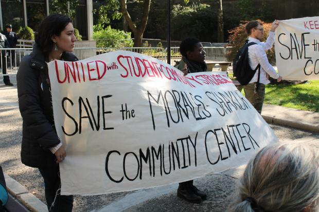 <p>Protests over the sudden closure of the Morales/Shakur Centrt  last week continued Monday with students speaking out in front of the Adminsitrative Building before marching through the streets of West Harlem to Broadway. A police car came to escort the crowd of about 50 students as they marched in the streets.</p>