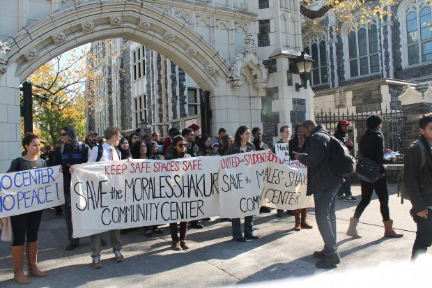 <p>City College students marched through the streets of Hamilton Heights  on Monday, Oct. 28 to protest the closure of the Morales/Shakur Center.</p>