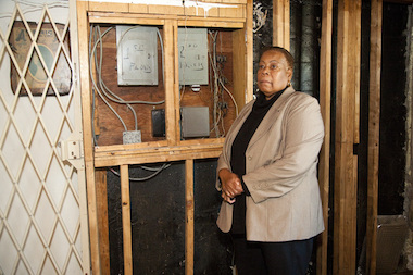 Theodora Wilkes struggles to complete the repairs to her home of 38 years.
