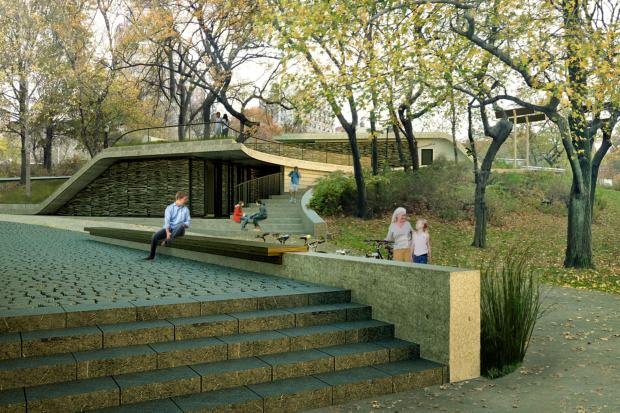 <p>The solar-powered bathrooms will have a grassy rooftop.</p>