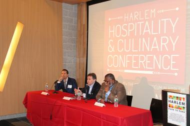 Restaurateur Richard Notar, Richard Coraine, senior managing partner, Union Square Hospitality Group and executive chef and restaurateur Alexander Smalls participate in the Harlem Hospitality and Culinary Conference's keynote address.