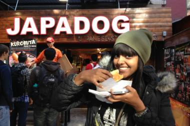 Japadog gave away hot dogs to celebrate a sales milestone.