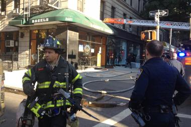 A fire broke out inside the bagel shop at Broadway and 98th Street, the FDNY said.