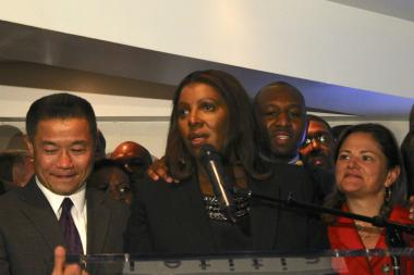 Councilwoman Letitia James celebrates her victory in the Democratic primary runoff for public advocate on Oct. 1, 2013.