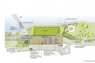 The new design includes new play places and renovations to the sports fields and dog run.