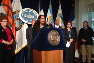 Councilwoman Julissa Ferreras spoke at a press conference before the council voted to pass the special permit to allow the Willets Point redevelopment to more forward.