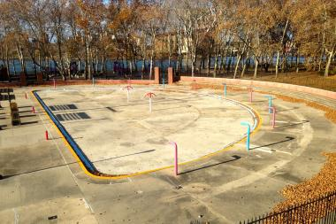 Vallone says the kiddie spray pool at Astoria Park Pool would be a perfect ice skating rink in winter.