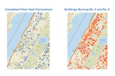 This diagram shows the work that's been done to convert to clean fuel in the neighborhood since 2011.