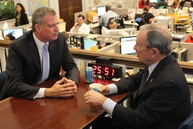 Mayor Mike Bloomberg congratulated Mayor-elect Bill de Blasio on his victory at City Hall on Wednesday.