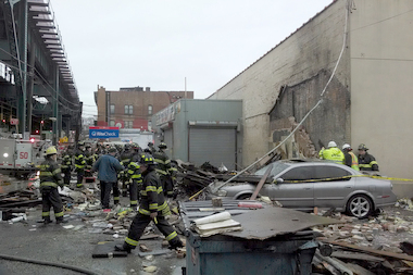 Firefighters raced to 2601 Westchester Ave. after a building collapsed there.