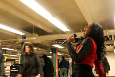 Gospel singer Arlethia performs in the MTA's Music Under New York program. She booked the most gigs out of any performer in the program in last two years, according to the transit agency.