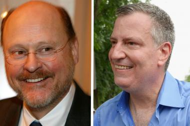 Joe Lhota, left, faced off with Bill de Blasio in the mayoral election Nov. 5, 2013.