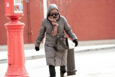 Wind-chill temperatues are expected to be in the teens Sunday as a cold front hits the city.