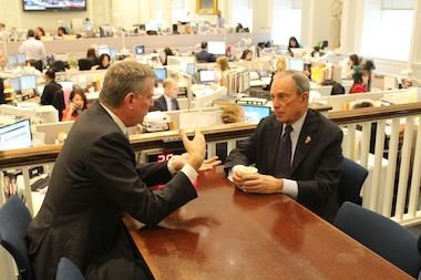 Mayor Bloomberg and Mayor-elect Bill de Blasio talk inside City Hall after de Blasio's victory on Tuesday, November 5, 2013. The two are working to ensure a smooth transition.