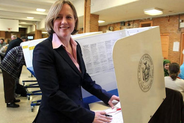Melinda Katz voting in Forest Hills on Election Day.