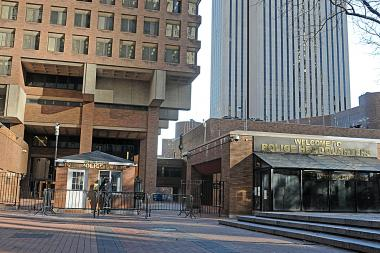 A driver smashed into a barrier at One Police Plaza early Friday morning.