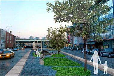 The long-delayed Peck Slip Park, which will sit between on Peck Slip, between Water and South Streets, is slated to open in 2015.