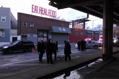 A 32-year-old cyclist was killed when a vehicle struck him under the BQE, police said.