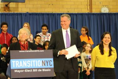 Mayor Bill de Blasio will shift funding priorities away from charter schools and towards universal pre-k construction, the Department of Education announced Friday, January 31.