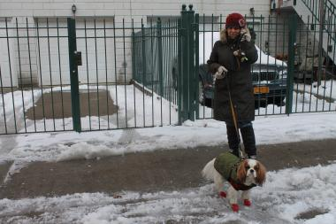 Vivian Garcilazo takes her dog, Churchill, for a walk in the snow.