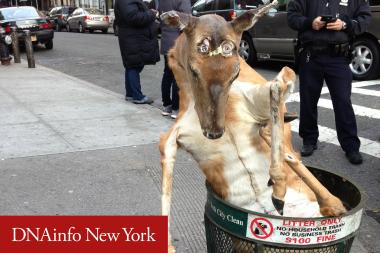A stuffed deer was found in a Washington Heights trash can Tuesday morning.