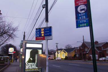 The DOT installed two electronic bus signs in Staten Island that tells riders how many stops away a bus is.