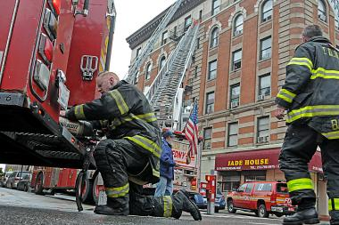 A man was critically injured in a Washington Heights kitchen fire.