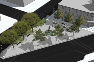 The Fowler Square redesign includes paths, green space and seating.