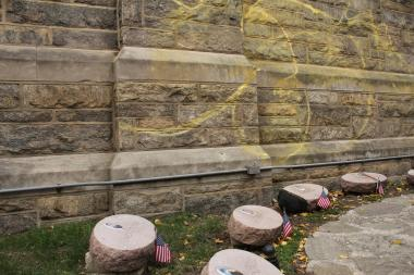 The Sept. 11 memorial at Good Shepherd Church was spray-painted on Nov. 28.