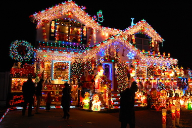 The borough's residents deck their walls with giant lights and moveable displays — and have even won awards for their homes.