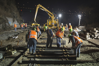 MTA crews repaired tracks damaged when a Metro-North train derailed Sunday.