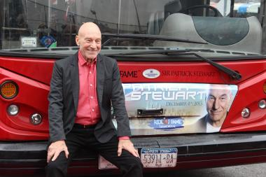 "The ""Ride of Fame"" bus features the ""Star Trek"" actor's face on the front."