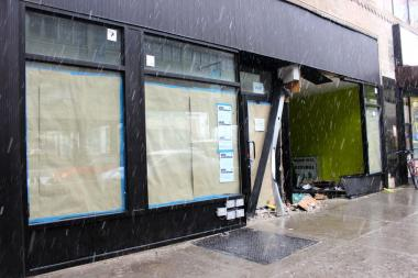 A storefront at 25-06 Queens Plaza South was destroyed in the crash that killed NYPD officer Elisa Toro in December.