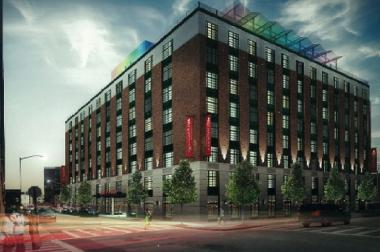 A rendering of the Crowne Plaza Hotel planned for 25-10 42nd Rd. in Long Island City.