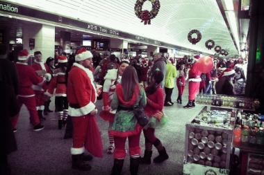 A day after the MTA Long Island Railroad announced that it would institute a 24-hour ban on alcohol consumption during the SantaCon festivities this weekend, New Jersey Transit said it, too, would prohibit passengers from having open containers of alcohol aboard its trains.