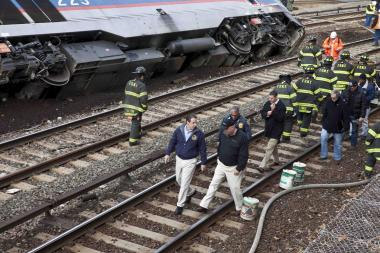 A train derailed in the crossing between Manhattan and the Bronx on December 1, along a Metro North train line.
