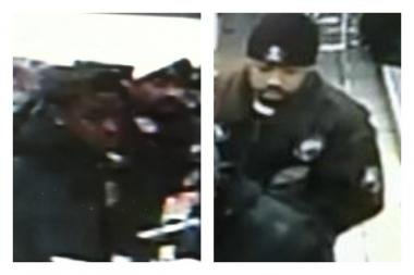 Police are looking for the two men on the right for allegedly breaking into a Staten Island deli and nabbing over $4,000 in tobacco and scratch cards. One suspect (left) was caught on a security camera redeeming the tickets in the Bronx, police said.