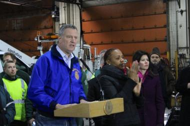 Mayor Bill de Blasio gave an update on the city's response to the snowstorm on Jan. 3, 2014.
