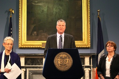 Mayor Bill de Blasio announced the initial results of an investigation into city agencies on Jan. 17, 2014, after the death of 4-year-old Myls Dobson.