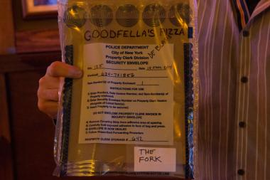 The infamous fork used by Mayor Bill de Blasio to chow down on a slice in Goodfella's Pizzeria was auctioned off for $2,500, with the money set to go to the Stephen Siller Tunnels to Tower Foundation.