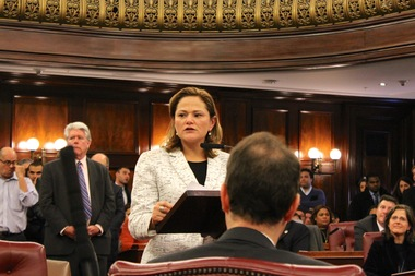 City Council Speaker Melissa Mark-Viverito giving her remarks after being elected by her colleagues as the new leader of the chamber on January 8, 2014.