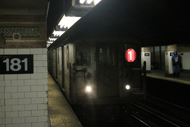 Trains will not run on the 1 line between 96th Street and Dyckman Street from 10 p.m. to 5 a.m. from Jan. 13 to 17.