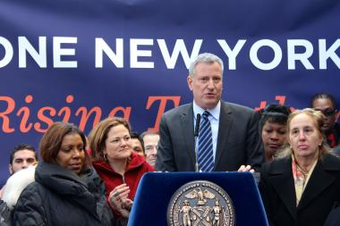 Mayor Bill de Blasio and Speaker Melissa Mark-Viverito announced their support for expanding the city's paid sick leave legislation on January 17, 2014.