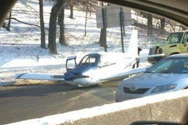 Daniel Miller tweeted a photo of the crash landing on Saturday, showing a view of the miraculous feat from his dashboard.