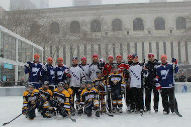 The exhibition game was a precurser to the first ever hockey games at Yankee Stadium.