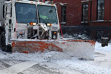 A pile of snow stopped a would-be car thief from driving off, police said.