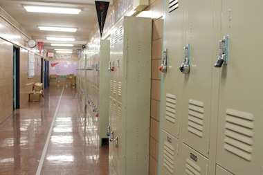An image of lockers at Harlem's P.S. 76.