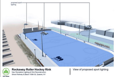 A rendering of the new roller hockey rink in Rockaway Beach.